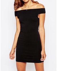 ASOS Black Off The Shoulder Bardot Mini Dress