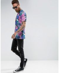 ASOS Purple Longline T-shirt With Vintage Look Abstract Print for men
