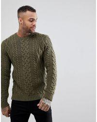 ec298e6d970 Men's Green Asos Chunky Cable Knit Sweater In Khaki