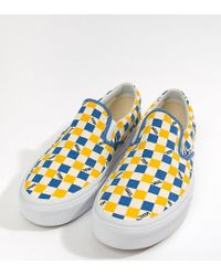 ccc0bcefd0 Men s Factory Pack Checkerboard Slip-on Plimsolls In Yellow Exclusive At  Asos