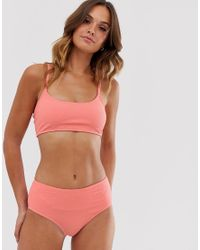 UNIQUE21 Pink Textured Scoop Neck Strappy Bikini