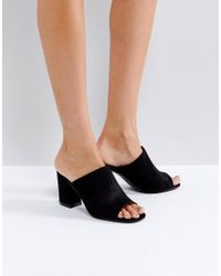 Truffle Collection Black Mule Flared Heel Sandals