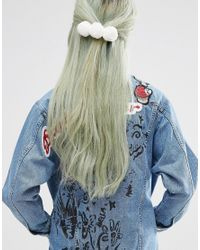 ASOS - White Limited Edition Pom Pom Hair Barrette - Lyst