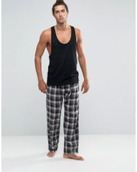 French Connection - Lounge Pants In Check - Blue for Men - Lyst