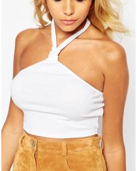 ASOS Crop Top With Knotted Halter - Black