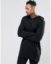 ASOS - Black Longline Knitted Hoodie With Zips for Men - Lyst