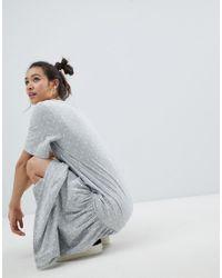 Monki - Gray Polka Dot Maxi T-shirt Dress - Lyst