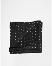 ASOS | Black Pocket Square With Polka Dot for Men | Lyst