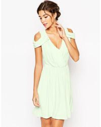 ASOS | Green Wedding Drape Cold Shoulder Mini Dress | Lyst