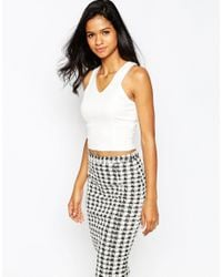 AX Paris | White V Neck Crop Top | Lyst