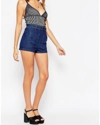 ASOS Denim Patch Pocket Belted Short In Mid Wash Blue With Tobacco Stitching