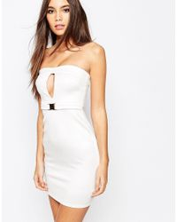 Oh My Love | Natural Bandeau Buckle Bodycon Dress With Cut Out | Lyst