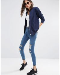 ASOS Blue The Ultimate Bomber Jacket In Jersey - Navy