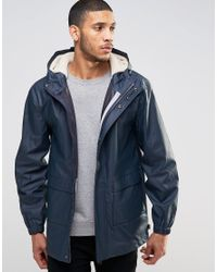 Bellfield Blue Rain Mac With Borg Lined Hood Jacket for men