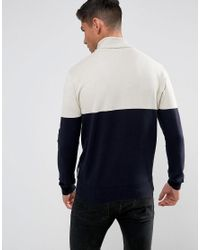 French Connection Blue Color Block Roll Neck Sweater for men