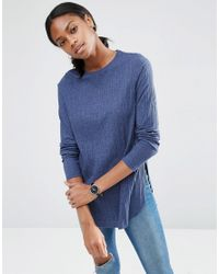 ASOS | Blue Long Sleeve Top With Side Splits And Curve Hem | Lyst