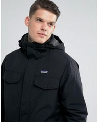 Patagonia Isthmus Parka Jacket Borg Lined With Detachable Hood In Black for men