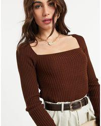 Jersey con pespuntes texturizados y cuello cuadrado en marrón ASOS de color Brown