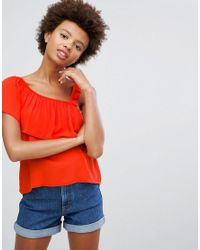 Pull&Bear Red Top With Asymetric Ruffle