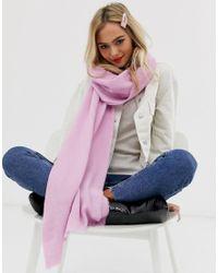 ASOS Pink Plain Lightweight Winter Pastel Long Scarf With Raw Edge