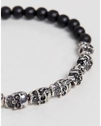 Reclaimed (vintage) - Metallic Inspired Skull Charm & Beaded Bracelet In Silver & Black Exclusive To Asos for Men - Lyst