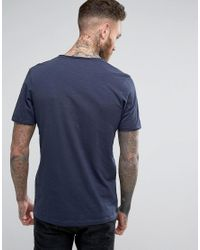 Jack & Jones Blue Vintage T-shirt With Split Neck Detail for men