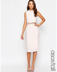 ASOS | Natural Tall Embellished Stand Collar Midi Dress | Lyst
