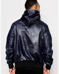 ASOS | Blue Hooded Jacket With Zip Fastening In Navy for Men | Lyst