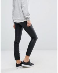 New Look Black Leather Look Coated Legging