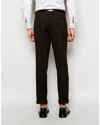 ASOS - Green Slim Smart Trousers In 100% Wool for Men - Lyst