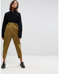 ASOS - Green Tailored Peg Pants With Tab And Buckle Detail - Lyst