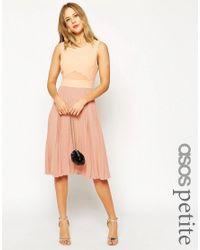 ASOS | Natural Petite Sheer & Solid Pleated Midi Dress | Lyst