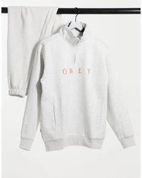 Obey Gray Lassen Half-zip Sweat for men
