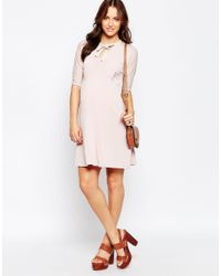 ASOS | Pink Swing Dress With Pussy Bow | Lyst