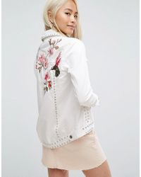 ARRIVE - White Embroidered Denim Jacket With Studs - Lyst