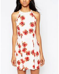 AX Paris - Multicolor Halterneck Cami Dress In Rose Print - Cream - Lyst