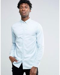 SELECTED   Blue Light Wash Chambray Shirt for Men   Lyst