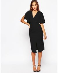 ASOS | Black Wiggle Dress With Woven Mix Angel Sleeve | Lyst