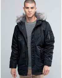 SELECTED   Black Parka Jacket With Faux Fur Hood for Men   Lyst
