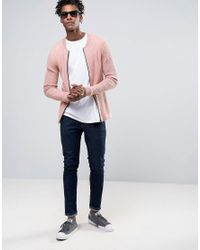 ASOS Pink Knitted Bomber With Waffle Texture In Muscle Fit for men