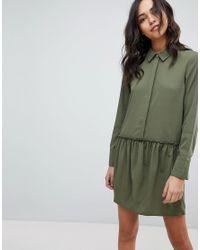 Vila Green Drop Waist Shirt Dress
