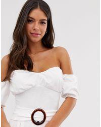 Mono largo con escote Bardot, manga abullonada y cintura marcada ASOS de color White