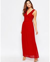 Elise Ryan - Ruched Maxi Dress With Open Lace Back Detail - Red - Lyst