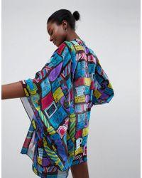 Exclusivité - Kimono avec slogan Anna Sui en coloris Blue