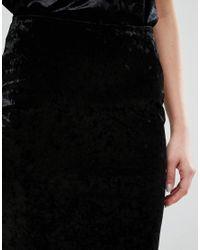 Warehouse Black Velvet Pencil Skirt