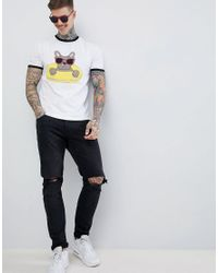 ASOS - White Design Relaxed T-shirt With French Bulldog Print for Men - Lyst