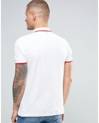 Pretty Green - Polo Shirt With Single Tipping In Slim Fit White for Men - Lyst
