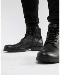 Jack & Jones Black Leather Boot for men