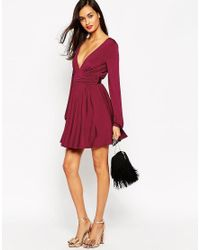 ASOS | Purple Petite Slinky Blouson Sleeve Wrap Mini Dress | Lyst
