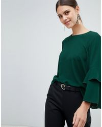 Y.A.S Green Citta Ruffle Sleeve Blouse